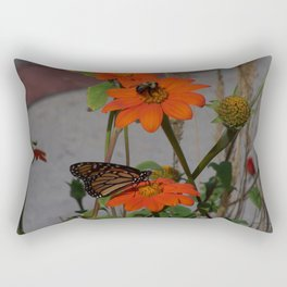 Bumble Bee and Monarch Butterfly Sharing Pollination Duties Rectangular Pillow