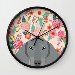 Dachshund pet portrait custom dog art by pet friendly grey dachsie doxie gifts Wall Clock