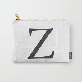 Letter Z Initial Monogram Black and White Carry-All Pouch