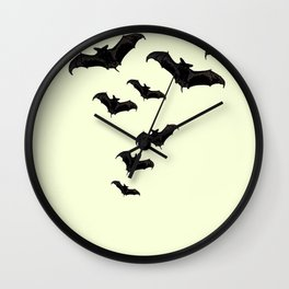 MYRIAD BLACK FLYING BATS DESIGN Wall Clock