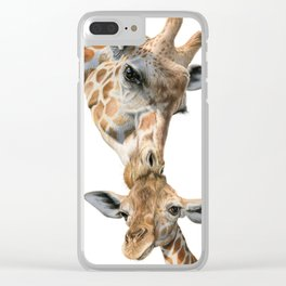 Mother And Baby Giraffe Clear iPhone Case
