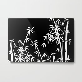 Bamboo Leaves White - black background Metal Print