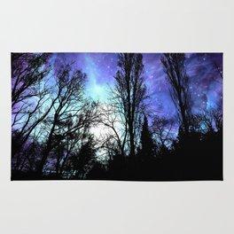 Black Trees Periwinkle Blue Lavender SPACE Rug