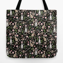 Cute rabbits. Black pattern Tote Bag
