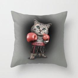 BOXING CAT Throw Pillow