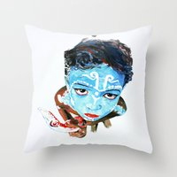 hindu Throw Pillows featuring Hindu Boy by Cristian Blanxer