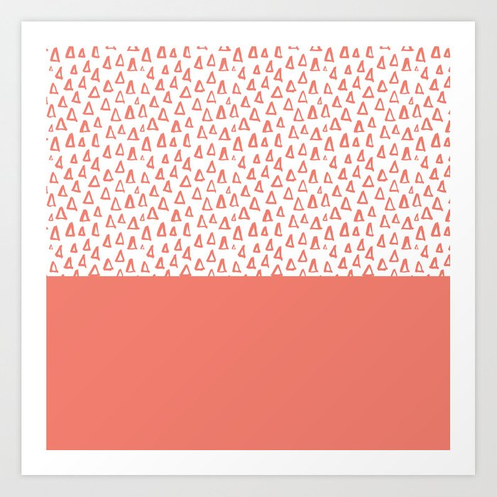 Triangles Coral Red Art Print