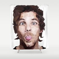 louis tomlinson Shower Curtains featuring Louis Tomlinson - One Direction by jrrrdan