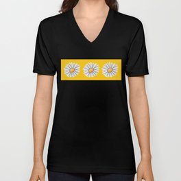 Tossed White Daisies Yellow Background Unisex V-Neck