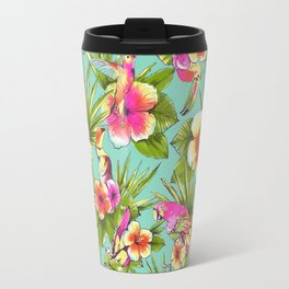 Tropical flowers with parrots Travel Mug