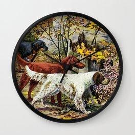 English Country Style Dog Image Wall Clock