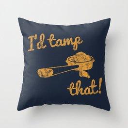 I'd Tamp That! (Espresso Portafilter) // Mustard Yellow Barista Coffee Shop Humor Graphic Design Throw Pillow