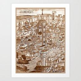 Florencia Sepia Art Print