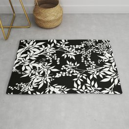 Toile White and Black Tangled Leaves Pattern Rug