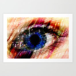 music backgroun abstract eye with the notes of a waltz Art Print