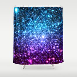 Glitter Galaxy Stars : Turquoise Blue Purple Hot Pink Ombre Shower Curtain