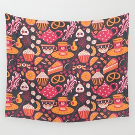 tea and candy pattern Wall Tapestry