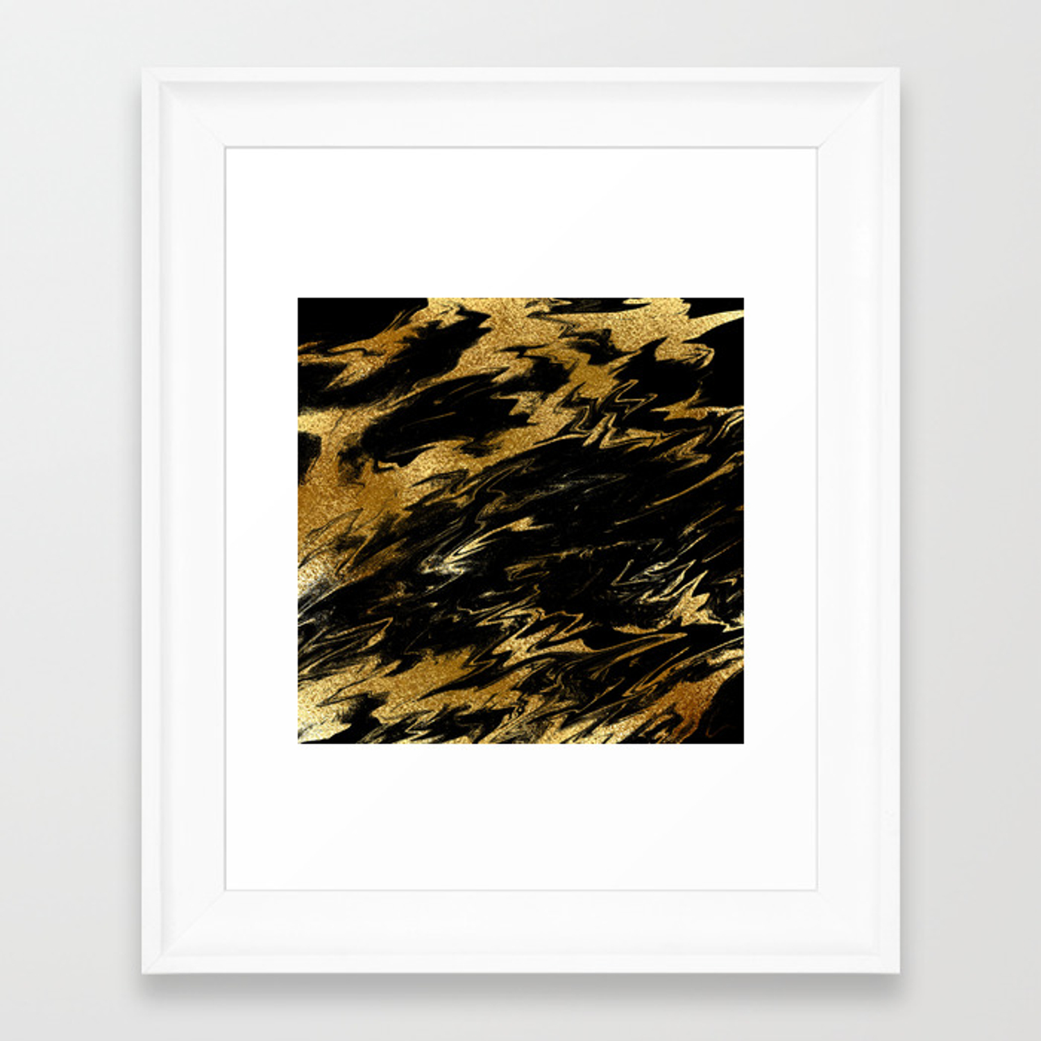 Luxury And Sparkle Gold Glitter And Black Marble Framed Art Print By Originalaufnahme Society6