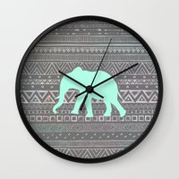 mint Wall Clocks featuring Mint Elephant  by Sunkissed Laughter