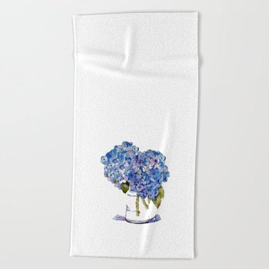 Hydrangea painting Beach Towel