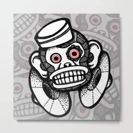 Creepy Cymbal-banging Monkey Metal Print