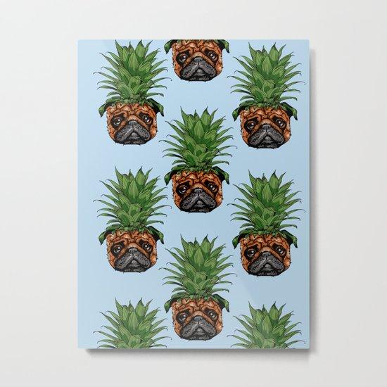 Pineapple Pug Metal Print
