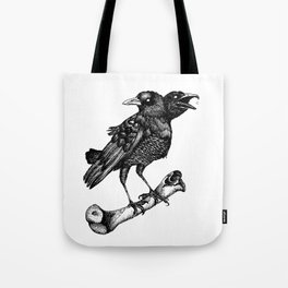 Two headed crow & Bone illustration Tote Bag