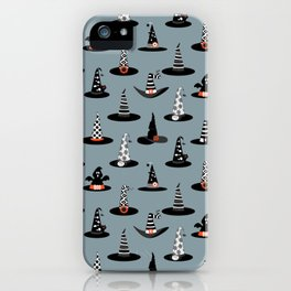 Halloween - Witch Hats on Gray iPhone Case