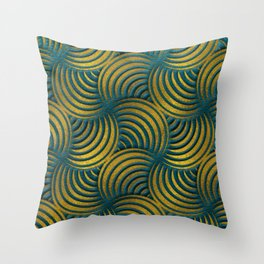 Teal Leather and Gold Circulate Wave Pattern Throw Pillow