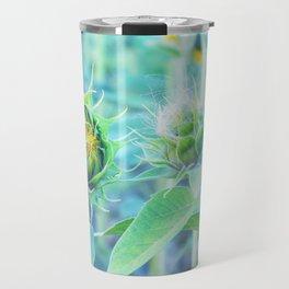 sunflower - turquoise Travel Mug