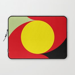 This is a sun splitting the sky in two sides, one black, one green. Spitting deep red round rays. Laptop Sleeve