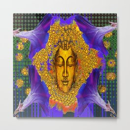PURPLE MORNING GLORY GOLDEN BUDDHA FACE Metal Print