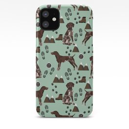 German Shorthair Pointer mountain hiking hiker outdoors camping dog breed iPhone Case