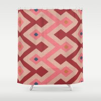 kilim Shower Curtains featuring Kilim in pink by Domesticate