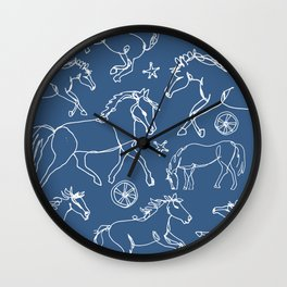 Galloping Horses, White on Navy Blue Wall Clock