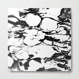Black And White Wet Watercolour Paint Textur Metal Print