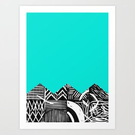 Sky lino bright Art Print