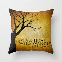tolkien Throw Pillows featuring Tolkien by Kam Minatrea