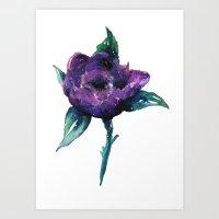 Galaxy flower Art Print