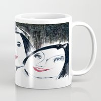 lipstick Mugs featuring Lipstick by Linda Roy Art