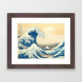 Japanese Woodblock Print The Great Wave of Kanagawa by Katsushika Hokusai Framed Art Print