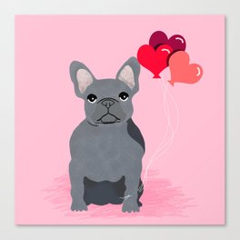 French Bulldog valentines day love balloons hearts grey frenchie must have gifts Canvas Print