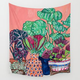 Cluster of Houseplants and Proteas on Pink Still Life Painting Wall Tapestry