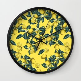 Lemon and Leaf Pattern III Wall Clock