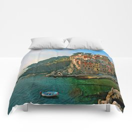 Italy. Cinque Terre - Canal side Comforters