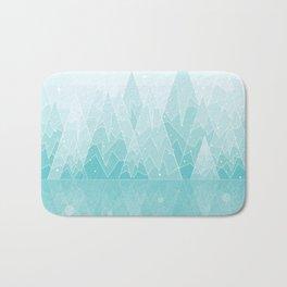 Geometric Lake Mountain IV - Winter Bath Mat
