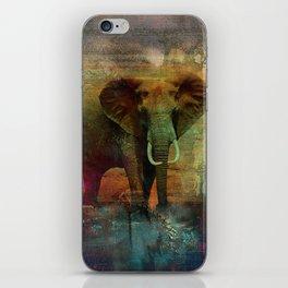 Abstract Grunge Elephant Digital art iPhone Skin