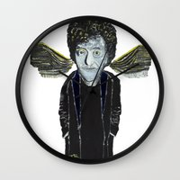 vonnegut Wall Clocks featuring Kurt Vonnegut Jr Oil Painting by Tony King  by Tony King - Beautifully Mad
