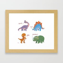 Potty Mouth Dinos Group Framed Art Print