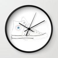 verse Wall Clocks featuring Con-verse by Ivana Citakovic